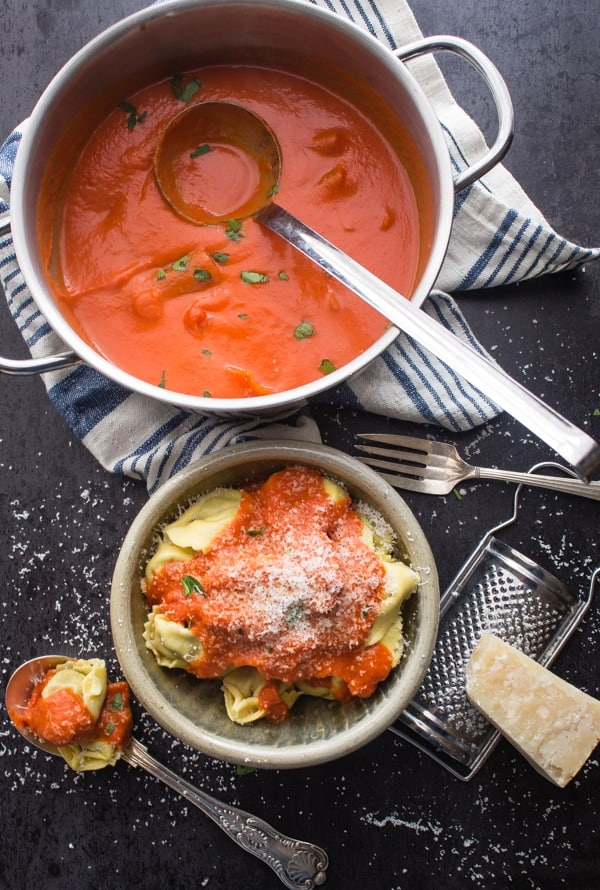 Easy Tomato Cream Sauce, an easy delicious creamy tomato sauce perfect for ravioli, tortellini and pasta. A must try.