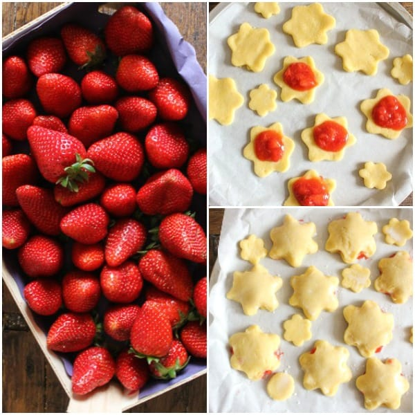 how to make strawberry filled cookies strawberries in a box, cookies with filling, cookies ready to be baked