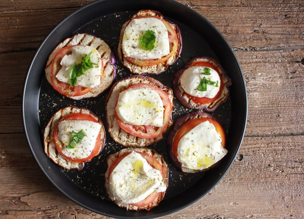 hot or cold grilled eggplant caprese