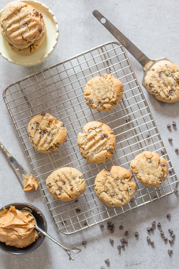 thick peanut butter chocolate chip cookies on a wire rack and white board