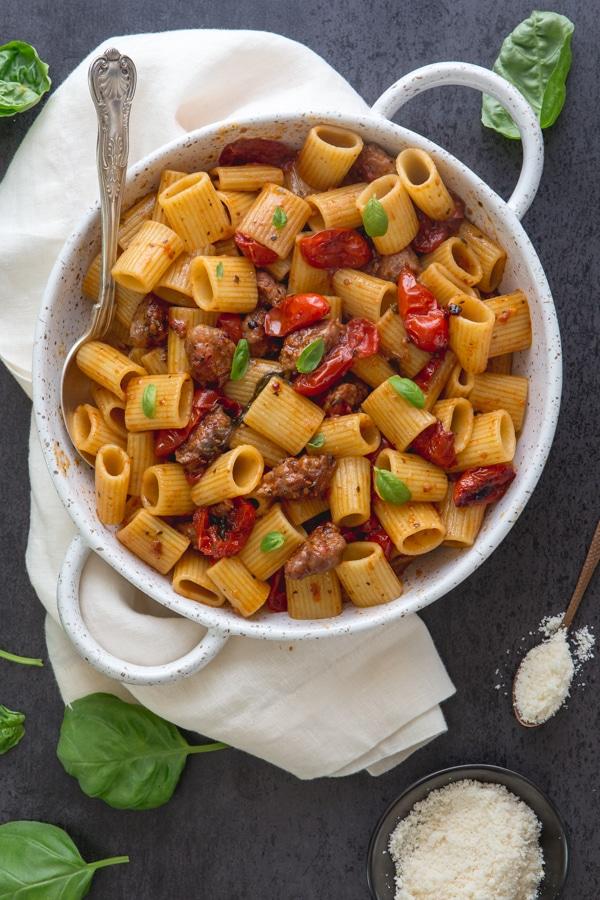 sausage pasta in a white pan