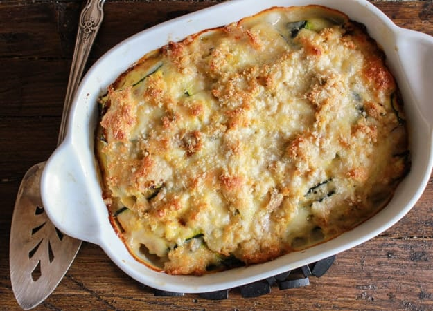 Grilled Zucchini Double Cheese Tuna Bake a delicious healthy, cheesy and creamy bake, the perfect family dinner summer casserole. A new favorite/anitalianinmykitchen.com