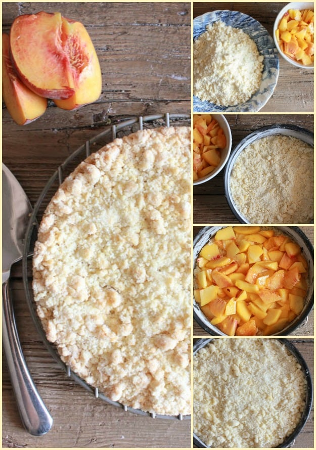 how to make peach crumb cake finished cake, ingredients peaches on the base and crumb on top