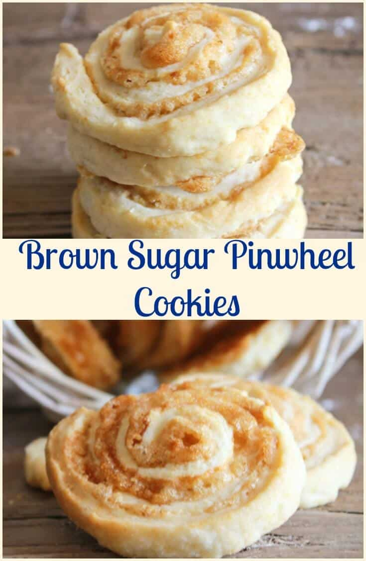 Brown Sugar Pinwheel Cookies, a delicious fast and easy pastry dough cookie recipe,with a yummy butter and brown sugar filling.