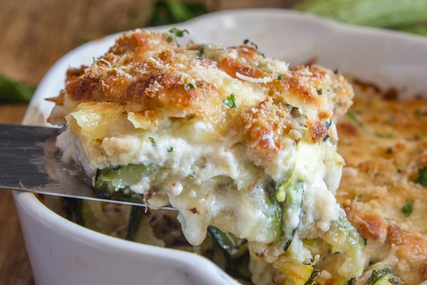 a slice of baked zucchini lasagna