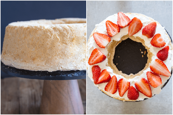 how to make angel food cake baked, and one layer with cream and strawberries made
