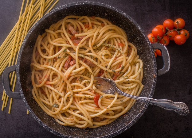 amatriciana fresh tomatoes in a pan ready to be served