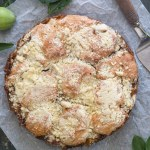 apple streusel cake on a white paper