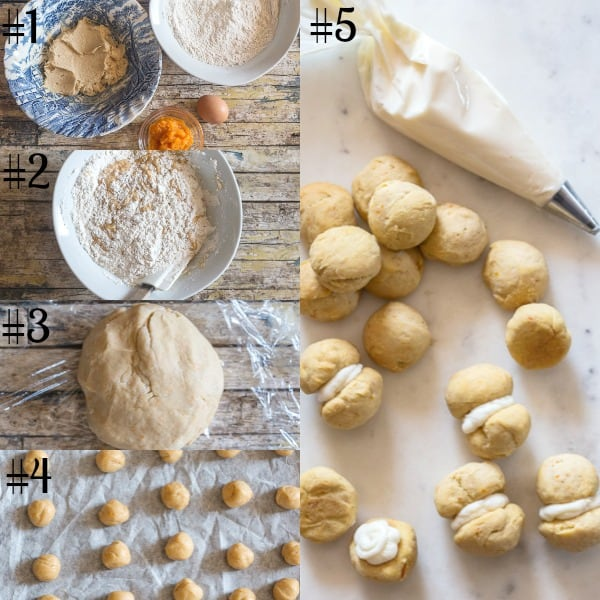 baci di dama how to make dough mixture, baked and filled