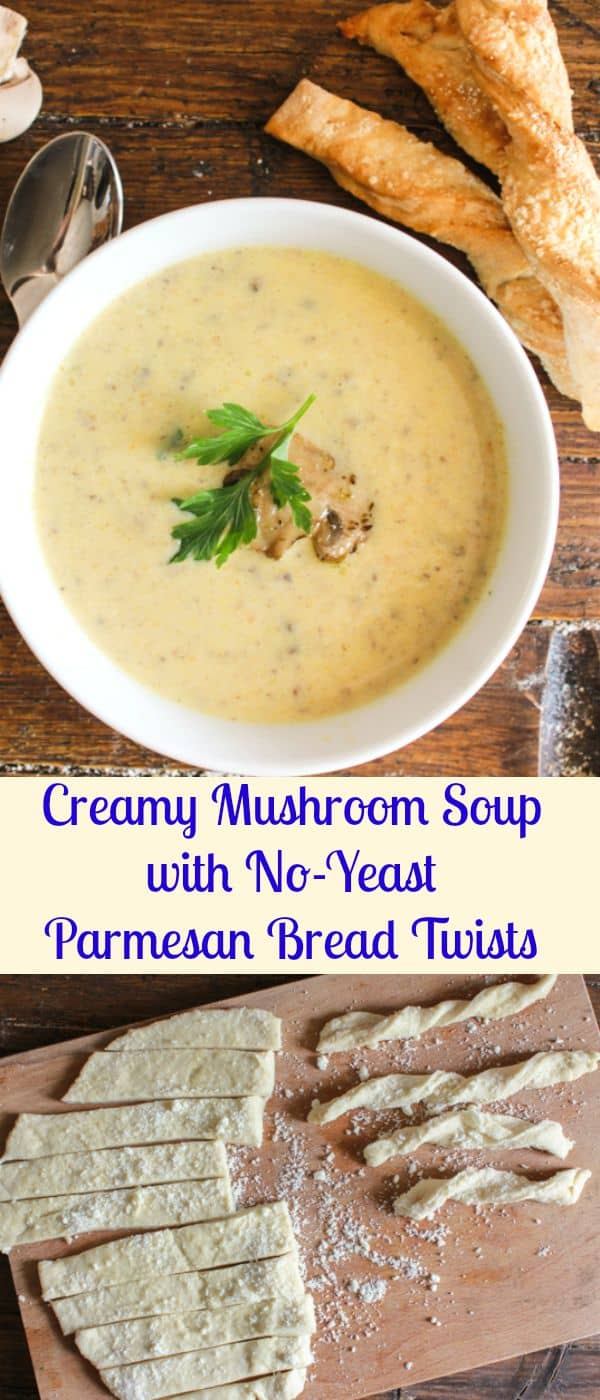 Creamy Mushroom Soup and Parmesan Bread Twists, an easy delicious homemade creamy mushroom soup recipe, perfect with these no-yeast Twists/anitalianinmykitchen.com