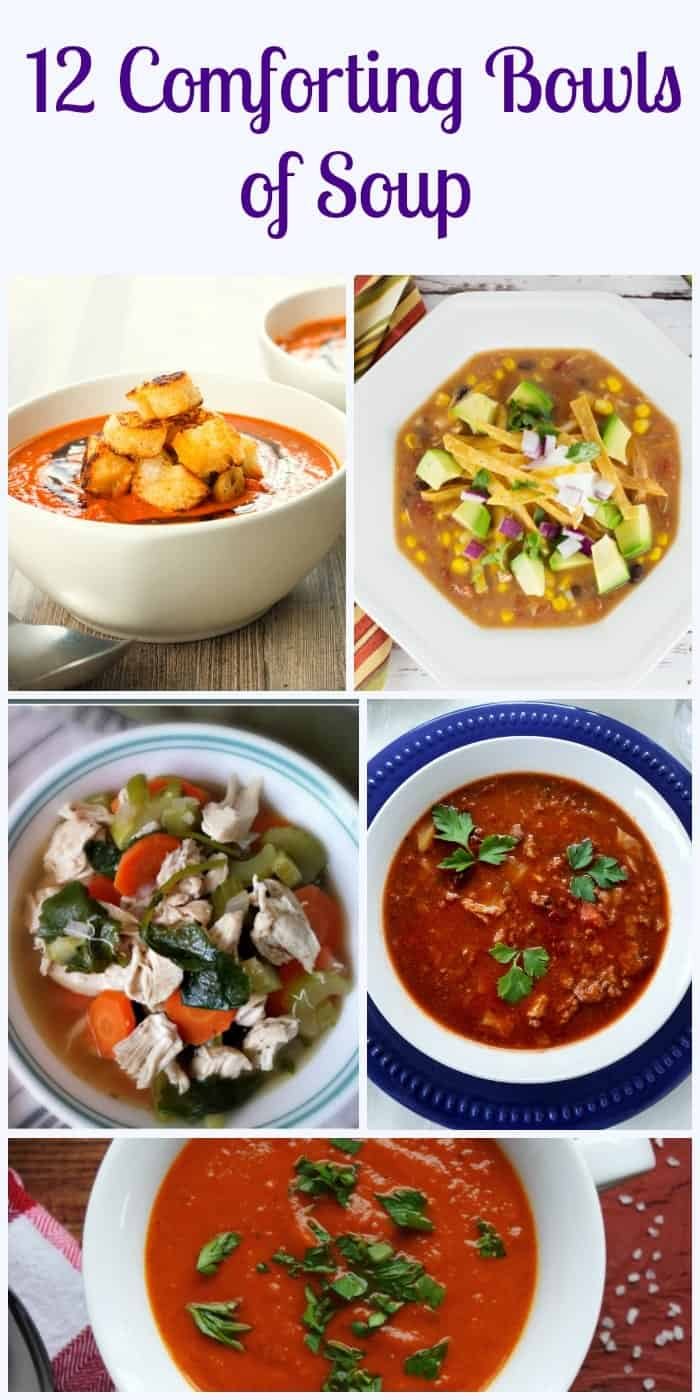 12 Comforting Bowls of Soup, from homemade to creamy to veggies and healthy, but all are comforting bowls of soup. Try them all.|anitalianinmykitchen.com