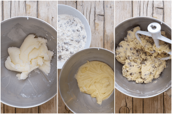 how to make chocolate chip cookies creaming the butter, adding the egg and vanilla, mixing it all together
