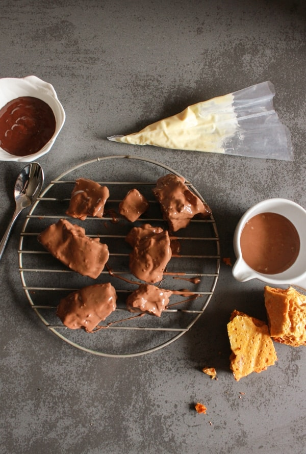 Chocolate Covered Sponge Toffee, or honeycomb, this is a fast, easy delicious crumbly, melt in your mouth chocolate candy. A yummy treat.|anitalianinmykitchen.com
