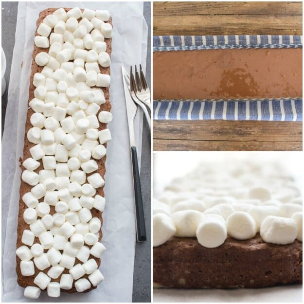 Fudgy Marshmallow Brownie Cake, a delicious brownie, topped with marshmallows and a creamy smooth fudge sauce. The perfect decadent dessert.