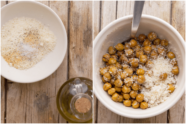roasted chickpeas how to make the parmesan mix in a white bowl and tossed with the chickpeas