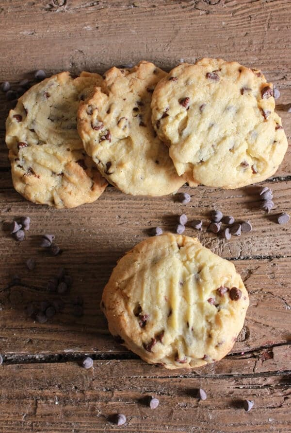 Thick Chocolate Chip Cookies, homemade, easy and full of chips, thick and delicious. Can't get any better than that. The Best Cookie!