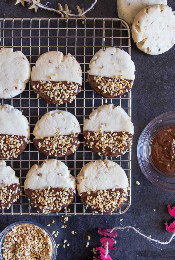 Chocolate Hazelnut Shortbread Cookies