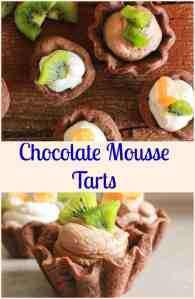 Chocolate Mousse Tarts, an easy, light dessert recipe, made with a flaky pastry dough and an eggless creamy dark or white chocolate mousse.
