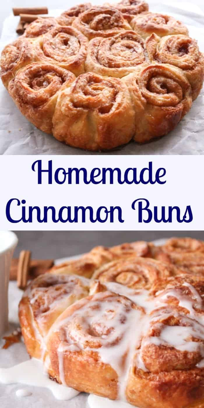 Homemade Cinnamon Buns, easy soft delicious cinnamon buns, the perfect breakfast or snack sweet bread recipe, delicious plain or glazed.|anitalianinmykitchen.com
