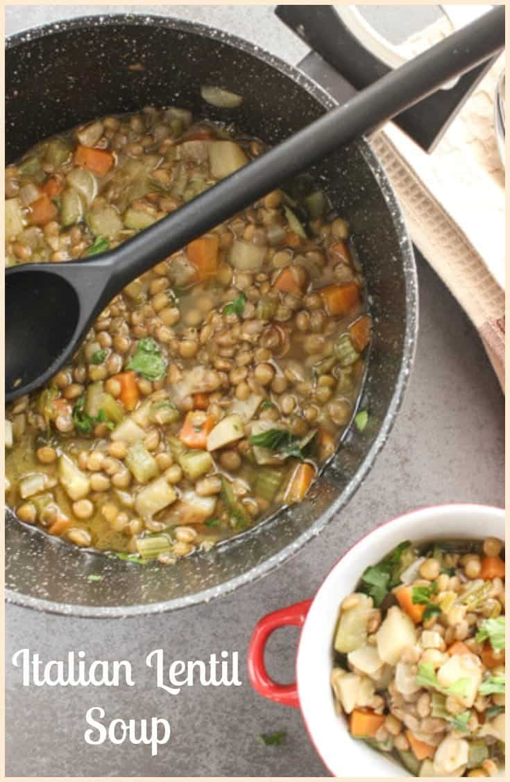 Italian Lentil Soup, not only an Italian good luck dish for ushering in the New Year but also healthy and delicious for anytime.