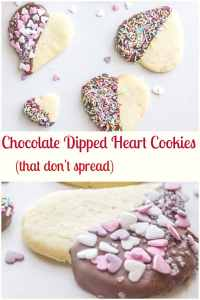 Valentine Chocolate Dipped Heart Cookies, delicious firm butter cookies,dipped in chocolate and sprinkles, perfect baking fun with kids. #cookies #valentinesday #sweets #dessert #chocolate