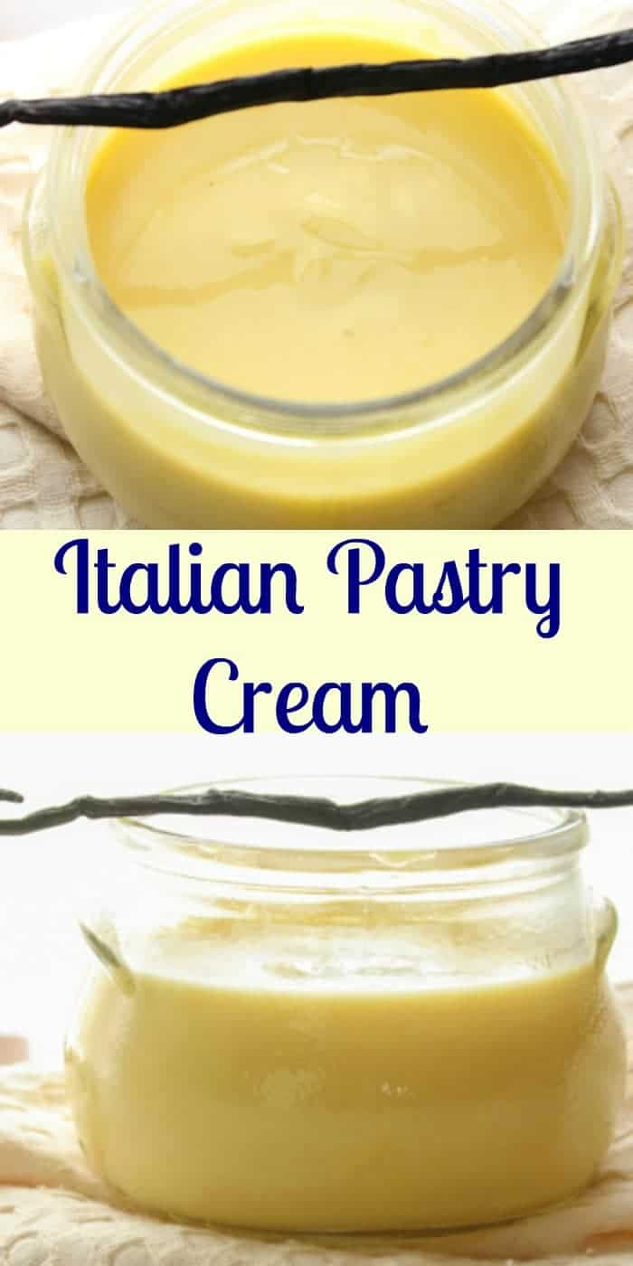 Italian Pastry Cream, an easy Italian vanilla cream filling, the perfect filling for tarts, pies or cakes.  A simple delicious Italian classic. #pastrycream #cream #pastryfilling #Italianrecipe #dessert #filling #frosting #sweets