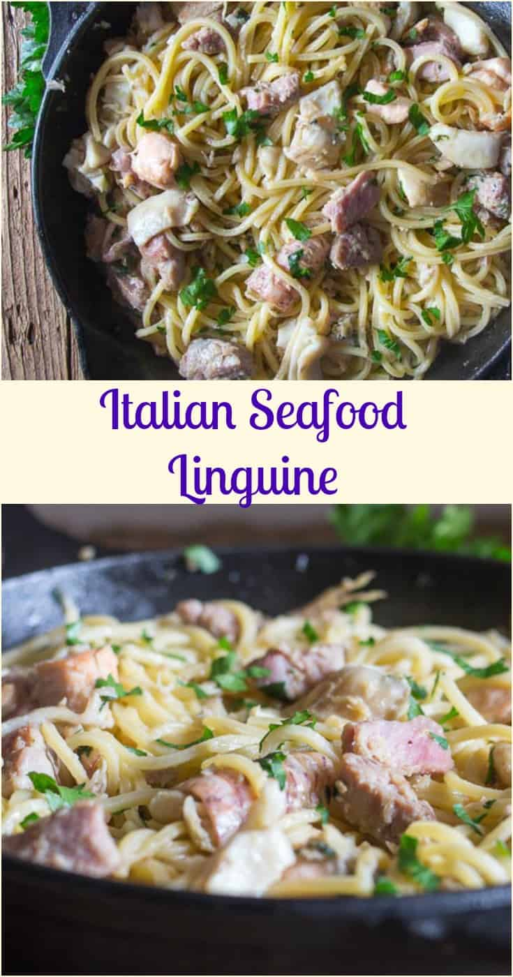 Italian Seafood Linguine,  an easy #healthy Italian #Pasta recipe, made with #olive oil, fresh parsley and your favorite #seafood.