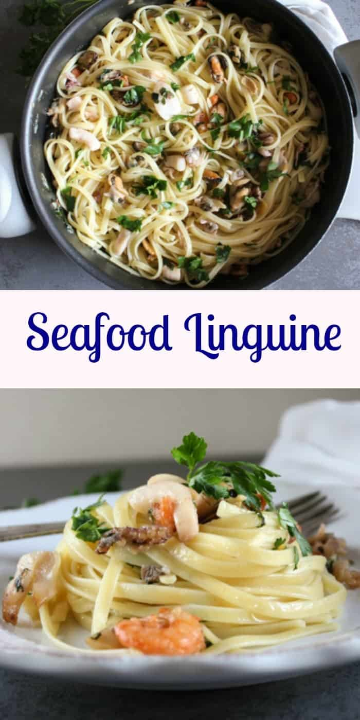 Seafood Linguine, an easy healthy Italian Pasta recipe, a perfect family or company dinner, made with olive oil, and your favorite seafood.|anitalianinmykitchen.com