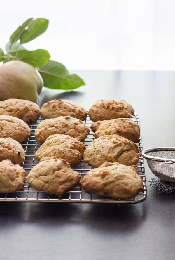 cinnamon applesauce cookies on a rack cooling