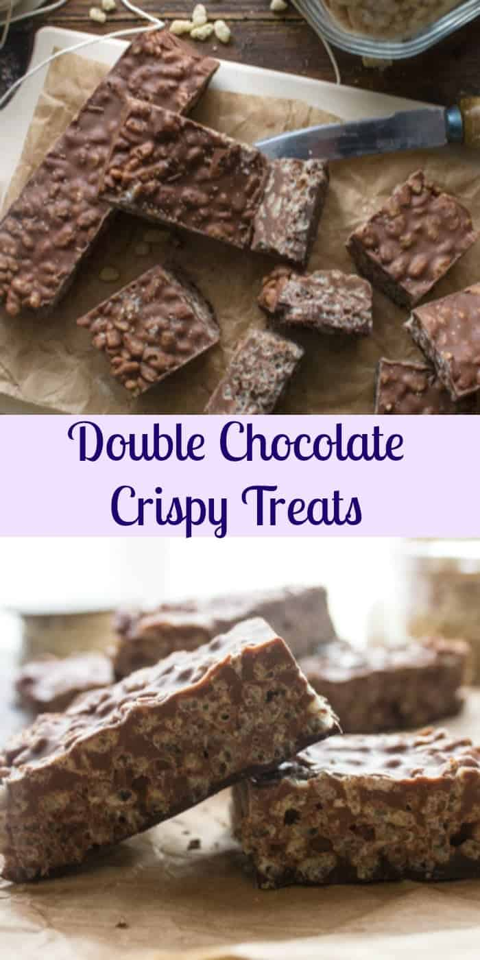 Double Chocolate Crispy Treats, a fast and easy crispy cereal treat recipe. A dessert or snack, kids and adults will love it.