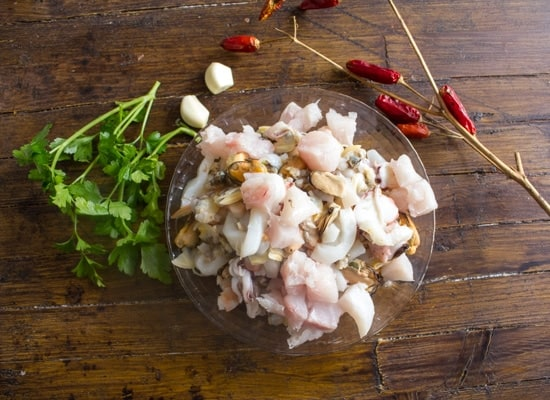 cut up raw fish for fish soup recipe