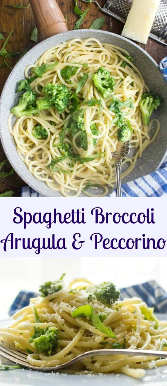 Spaghetti Broccoli Arugula and Pecorino, a delicious Italian Pasta recipe, fast, easy and healthy. A delicious combination.