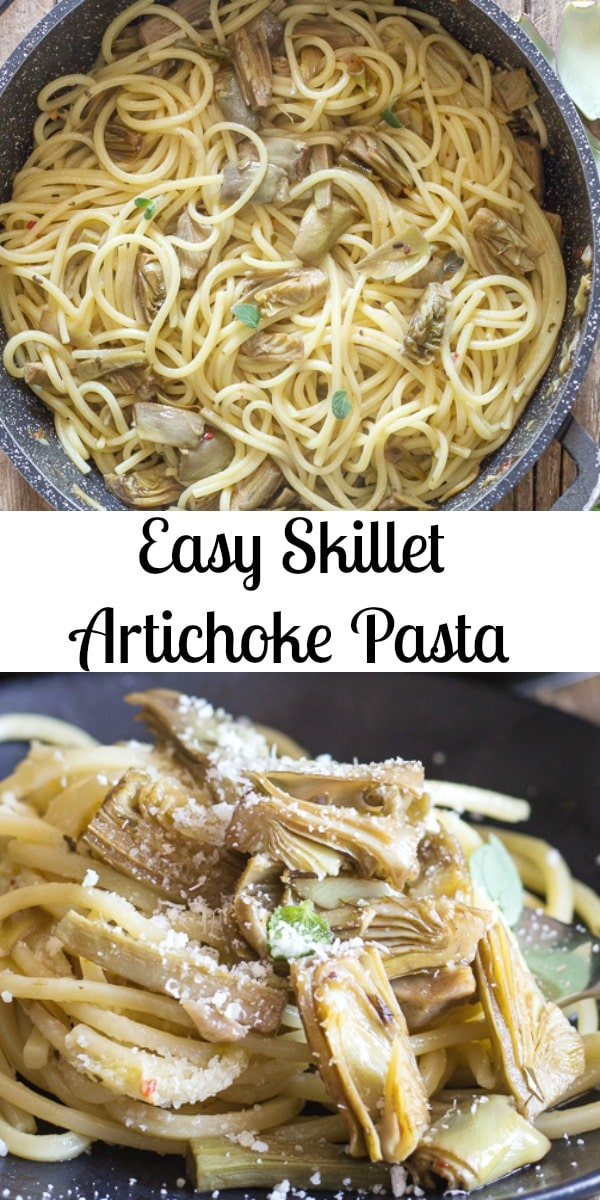 Easy Skillet Artichoke Pasta, a fast and easy Italian Pasta Recipe.  Fresh Artichokes and spices tossed with your favourite pasta makes this the perfect any day dinner idea. #pasta #artichokes #artichokepasta #Italianrecipe #dinner #easydinnerrecipe #pastarecipe