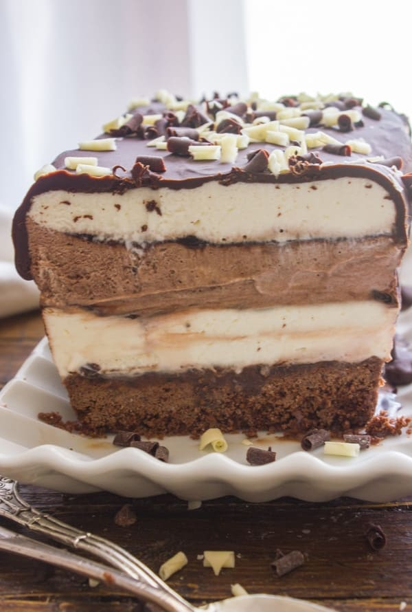 Easy homemade Death by Chocolate Ice Cream Cake, chocolate and vanilla no-churn ice cream makes this a creamy delicious dessert recipe.