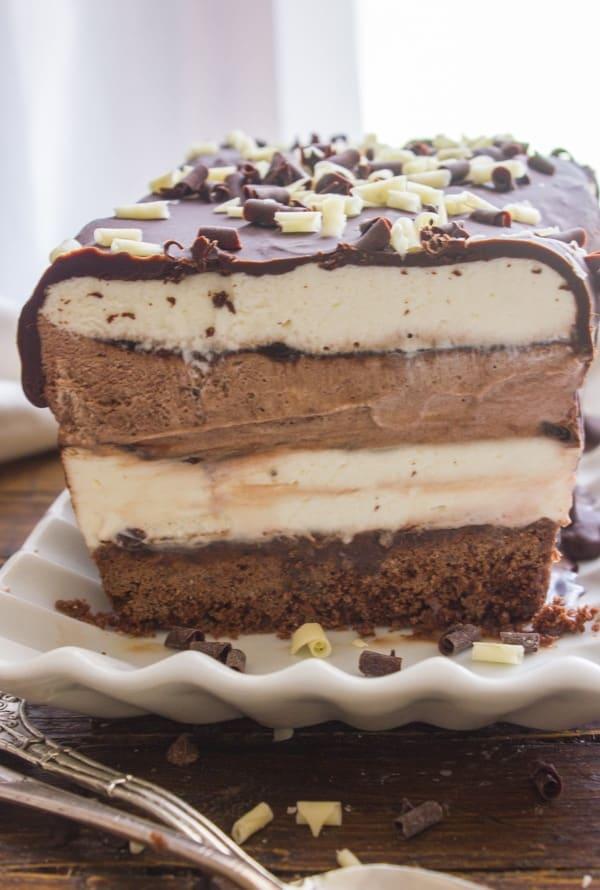 Easy homemade Death by Chocolate Ice Cream Cake, chocolate and vanilla no-churn ice cream makes this a creamy delicious dessert recipe.