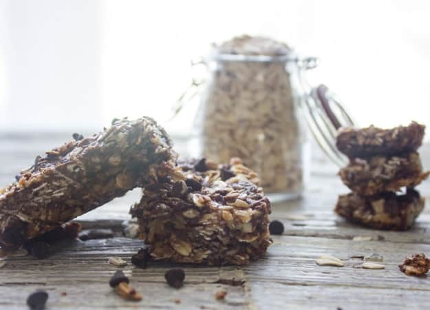 Dark Chocolate Almond Granola Bars, an easy healthy Homemade Granola Bar recipe, oatmeal and bran make these a good for you snack.