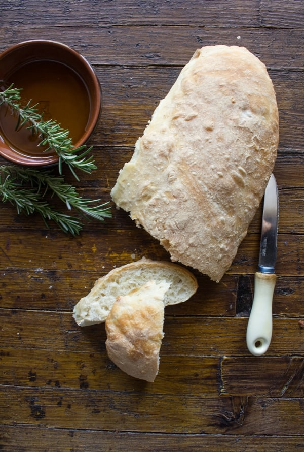 Homemade Italian Ciabatta Bread, an easy Italian Bread Recipe, perfect for dipping or using as an appetizer. Delicious.
