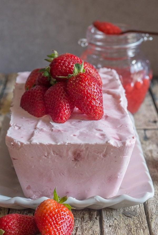 strawberry semifreddo on a white plate