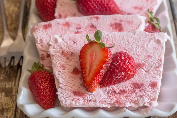 2 slices of strawberry semifreddo on a plate