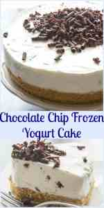 Chocolate Chip Frozen Yogurt Cake, a healthy delicious no-bake Summer dessert recipe,made with a Graham Cracker Crust (or check out my alternative which is even better)! & Greek Yogurt.