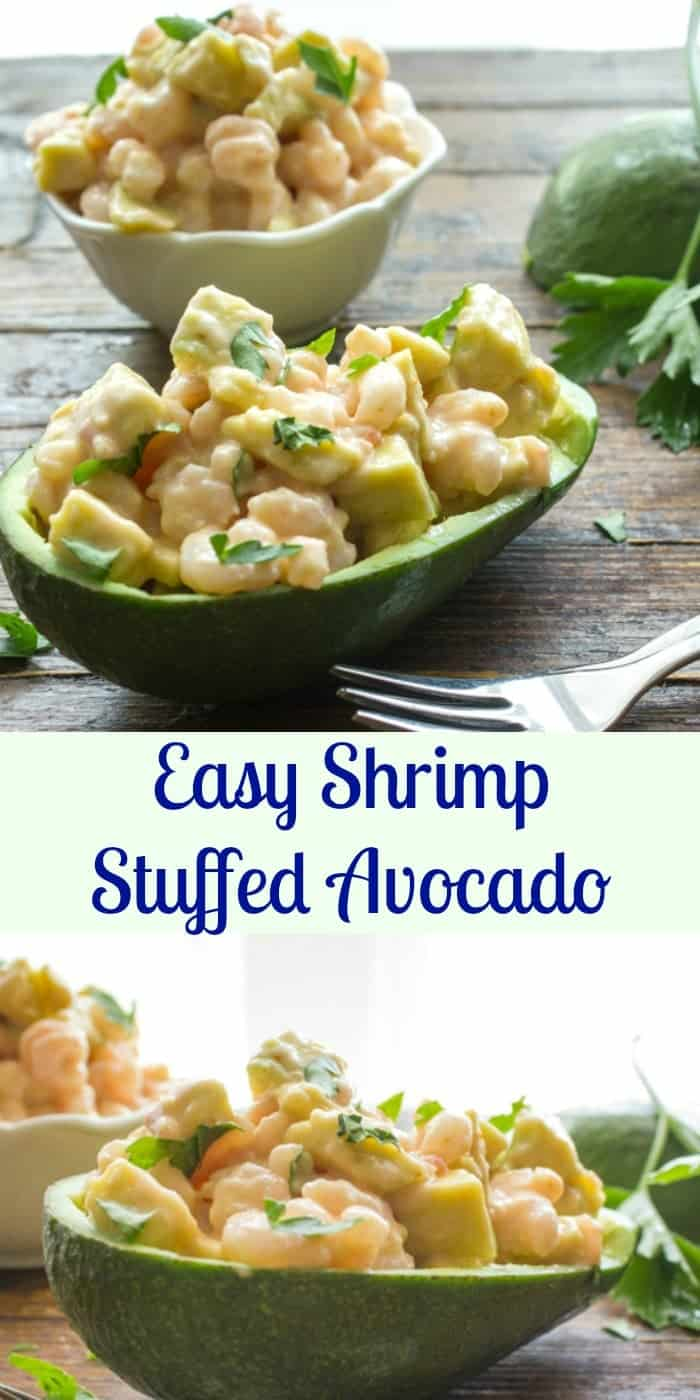 Easy Shrimp Stuffed Avocado, a delicious appetizer or main dish recipe, creamy mayo shrimp avocado combination.|anitalianinmykitchen.com