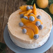 apricot cake on a blue plate