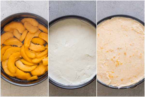 apricot cake how to make, the base, the middle filling and the top filling