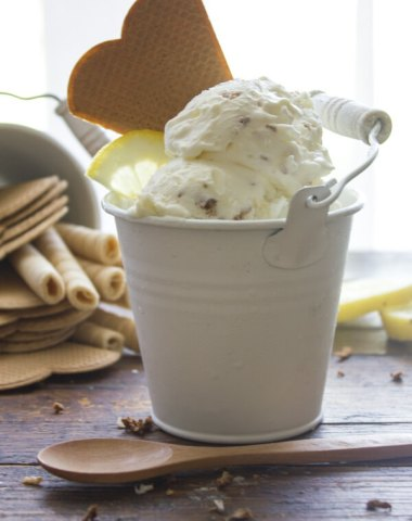 Easy No Churn Toasted Coconut Lemon Ice Cream, an easy homemade ice cream recipe, a refreshing fresh coconut and lemon flavor dessert.