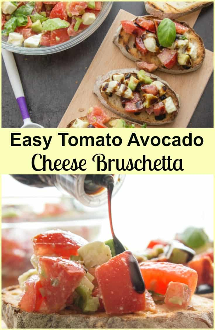 Easy Tomato Avocado Feta Bruschetta a simple & fast appetizer. Fresh ingredients, olive oil and balsamic make this a delicious healthy recipe.