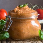 tomato pesto in a glass jar