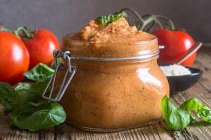 tomato pesto in a glass jar