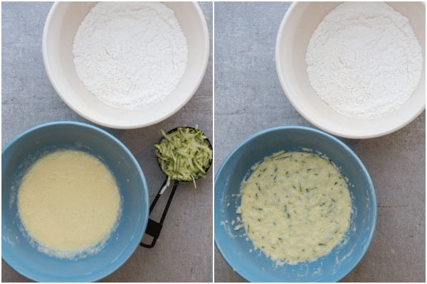 how to make zucchini baked donuts ingredients and ingredients mixed in a bowl