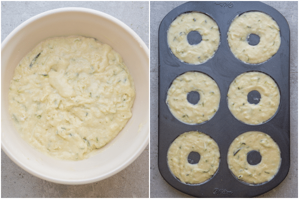 how to make zucchini donuts mixed in a white bowl and added to the donut pan