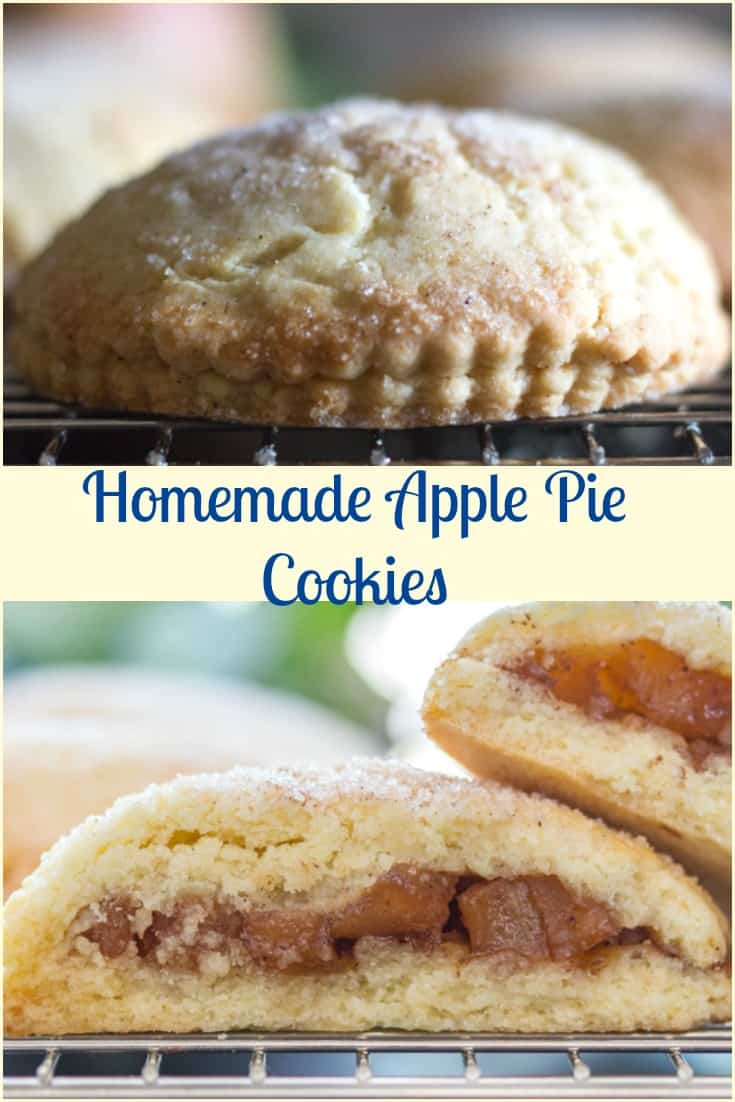 Apple Pie Cookies, a delicious homemade easy cookie recipe, filled with a delicious apple cinnamon filling. Snack or Dessert, Perfect!